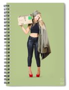 Bombshell Blond Pinup Woman In Dangerous Style Spiral Notebook