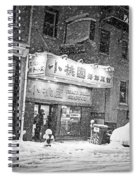 Boston Chinatown Snowstorm Tyler St Black And White Spiral Notebook