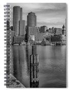 Boston Habor Sunrise Bw Spiral Notebook
