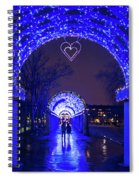 Boston Ma Christopher Columbus Park Trellis Lit Up For Valentine's Day Rainy Night Spiral Notebook