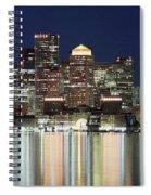 Boston Night Skyline Panorama Spiral Notebook