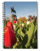 Boston Public Garden Tulips And George Washington Statue 2 Spiral Notebook