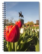 Boston Public Garden Tulips And George Washington Statue Spiral Notebook
