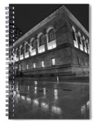 Boston Public Library Rainy Night Boston Ma Black And White Spiral Notebook