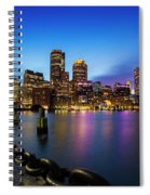 Boston Skyline At Dusk Spiral Notebook