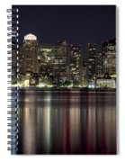 Boston Skyline At Night Spiral Notebook
