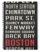 Boston Subway Stops Poster Spiral Notebook