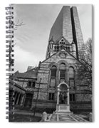 Boston Trinity Church And Hancock Building Boston Ma Black And White Spiral Notebook