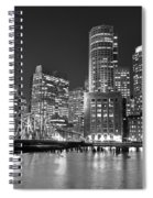 Boston Waterfront Black And White Spiral Notebook