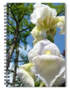 Botanical Landscape Trees Blue Sky White Irises Iris Flowers Spiral Notebook