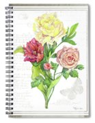 Botanical Vintage Style Watercolor Floral 3 - Peony Tulip And Rose With Butterfly Spiral Notebook