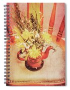 Bouquet Of Dried Flowers In Red Pot Spiral Notebook