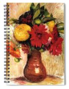 Bouquet Of Flowers In An Earthenware Pitcher Spiral Notebook