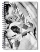 Boy And Dog Hiding Under Blanket Spiral Notebook