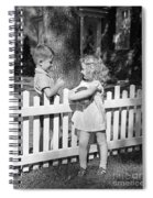 Boy And Girl Talking Over Fence, C.1940s Spiral Notebook