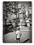 Boy At Statue In Sicily Spiral Notebook