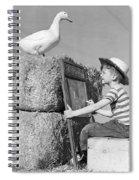 Boy Drawing Duck, C.1950s Spiral Notebook