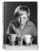 Boy Drinking Three Shakes At Once Spiral Notebook