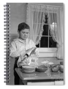 Boy Drying Dishes, C.1950s Spiral Notebook