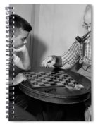 Boy Playing Checkers With Grandfather Spiral Notebook