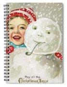 Boy With A Snowman Spiral Notebook