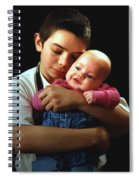 Boy With Bald-headed Baby Spiral Notebook