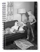 Boy With Baseball Vs. Napping Dad Spiral Notebook