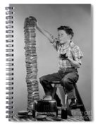 Boy With Huge Stack Of Toast, C.1950s Spiral Notebook