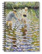 Boys Fishing For Minnows Spiral Notebook