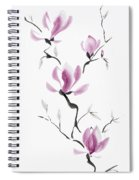 Branch Of Blooming Purple Magnolia Flowers Japanese Zen Sumi-e P Spiral Notebook