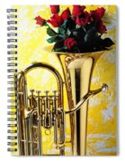 Brass Tuba With Red Roses Spiral Notebook