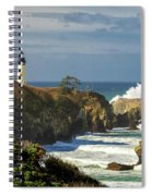 Breaking Waves At Yaquina Head Lighthouse Spiral Notebook