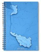 Bremen Bundesland Germany 3d Render Topographic Map Blue Border Spiral Notebook