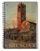 Brescia, Italy - Birds Flying Around Tower - Retro Travel Poster - Vintage Poster Spiral Notebook