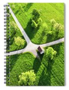 Bright Green Spring Meadow Aerial Photo Spiral Notebook