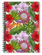 Brightly Colored Tropical Flowers And Ferns  Spiral Notebook