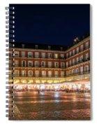 Brightly Lit Midnight - Plaza Mayor In Madrid Spain Spiral Notebook