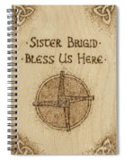Brigid's Cross Blessing Woodburned Plaque Spiral Notebook
