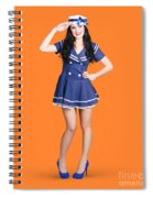 British Navy Blue Pin Up Girl Saluting Spiral Notebook