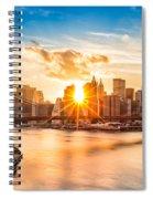 Brooklyn Bridge And The Lower Manhattan Skyline At Sunset Spiral Notebook