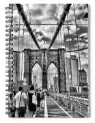 Brooklyn Bridge Walkway   B  And  W Spiral Notebook
