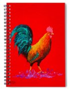 Brown Rooster On Red Background Spiral Notebook