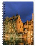 Bruges At Night, Belgium Spiral Notebook