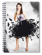 Brunette Pin-up Woman In Gorgeous Feather Skirt Spiral Notebook