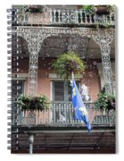 Bubbles Blow From An Ornate Balcony In New Orleans At Mardi Gras Spiral Notebook