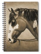Buckskin War Horse In Sepia Spiral Notebook