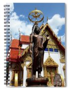 Buddha Statue With Sunshade Outside Temple Hat Yai Thailand Spiral Notebook