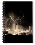 Budweiser Lightning Thunderstorm Moving Out Bw Sepia Crop Spiral Notebook