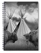 Buffalo Herd Among Teepees Of The Blackfoot Tribe Spiral Notebook