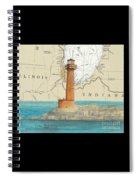Buffington Harbor Lighthouse In Nautical Chart Map Spiral Notebook